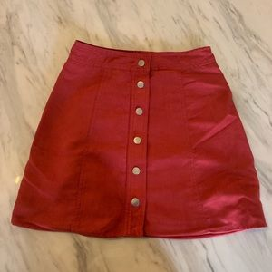 Faux suede red skirt! Size 0!